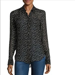 Theory star print button down blouse
